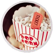 Popcorn Box Office Round Beach Towel