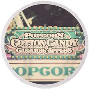 Popcorn Stand Carnival Photograph From The Summer Fair Round Beach Towel