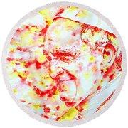 Pope Francis Profile -watercolor Portrait Round Beach Towel