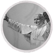Pope John Paul II Bw Round Beach Towel by Ylli Haruni