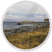 Popham Beach On The Maine Coast Round Beach Towel