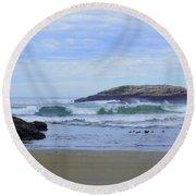 Popham Beach Surf Round Beach Towel