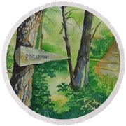 Poplar Point Camp Round Beach Towel