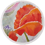 Poppies 1 Round Beach Towel