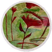 Poppies Abstract 2 Round Beach Towel
