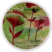 Poppies Abstract 3 Round Beach Towel