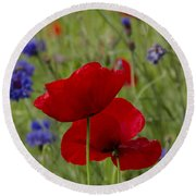 Poppies And Cornflowers Round Beach Towel
