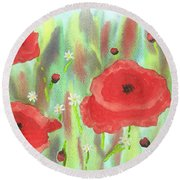 Poppies And Daisies Round Beach Towel