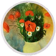 Poppies And Daisies Round Beach Towel by Odilon Redon