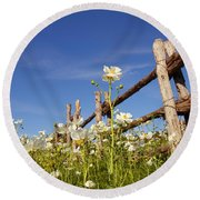Poppies And Fence 2am-110209 Round Beach Towel