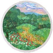 Poppies And Lace Round Beach Towel