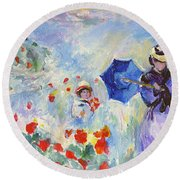Poppies At Argenteuil Claude Monet Round Beach Towel