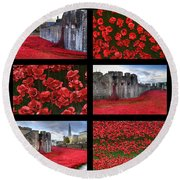 Poppies At The Tower Collage Round Beach Towel