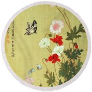 Poppies, Butterflies And Bees Ink And Colour On Silk Round Beach Towel