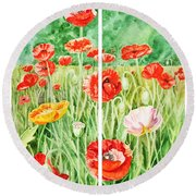Poppies Collage I Round Beach Towel