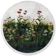 Poppies, Daisies And Thistles Round Beach Towel