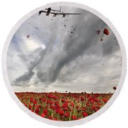 Poppies Dropped  Round Beach Towel