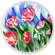 Poppies Field Square Quilt  Round Beach Towel