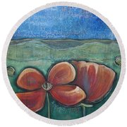 Poppies For Barbara And Paul Round Beach Towel