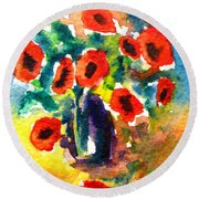 Poppies In A Vase Round Beach Towel