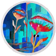 Poppies On Blue 1 Round Beach Towel