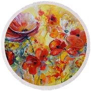 Poppies On Fire Round Beach Towel