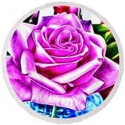 Poppin Purple Rose Round Beach Towel