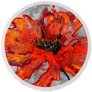 Poppy 41 Round Beach Towel