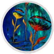 Poppy At Night Abstract 1 Round Beach Towel