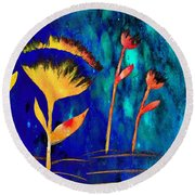 Poppy At Night Abstract 3  Round Beach Towel