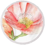 Poppy Bloom Round Beach Towel by Sherry Harradence