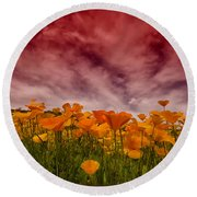 Poppy Fields Forever Round Beach Towel