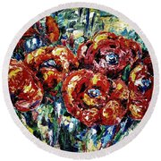 Poppy Red Flowers Round Beach Towel