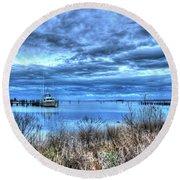 Poquoson Yacht On Stormy Morning Round Beach Towel