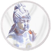 Porcelain Maiden In Watercolor Round Beach Towel