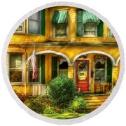 Porch - Cranford Nj - A Yellow Classic  Round Beach Towel