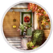 Porch - Cranford Nj - Simply Pink Round Beach Towel by Mike Savad