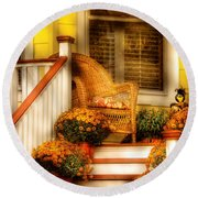 Porch - In The Light Of Autumn Round Beach Towel