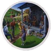 Porch Music And Flatfoot Dancing - Mountain Music - Farm Folk Art Landscape - Square Format Round Beach Towel