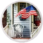 Porch With Flag And Wicker Chair Round Beach Towel