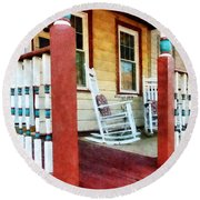 Porch With Red White And Blue Railing Round Beach Towel