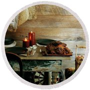 Pork With Candles Round Beach Towel
