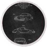 Porsche 911 Carrera 1964 Patent Art  Round Beach Towel