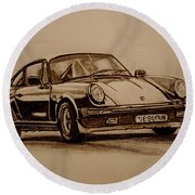 Porsche 911 Carrera Round Beach Towel