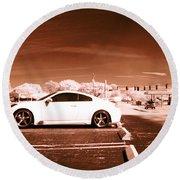 Porsche Car Side Profile Brown Near Infrared  Round Beach Towel