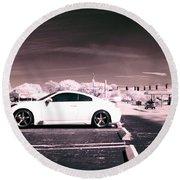 Porsche Car Side Profile Pink Near Infrared Round Beach Towel