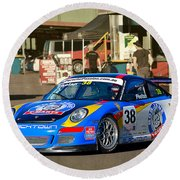 Porsche In The Pits Round Beach Towel