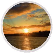 Port Angeles Sunburst Round Beach Towel