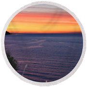 Port Angeles Sunset Round Beach Towel