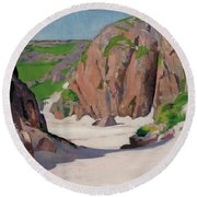 Port Bhan  Iona Round Beach Towel by Francis Campbell Boileau Cadell
